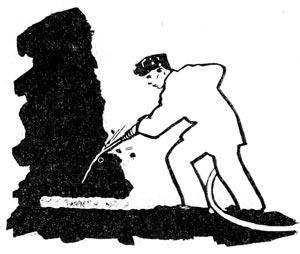 Схема зарубной щели (стрелка указывает направление ударов для скола).