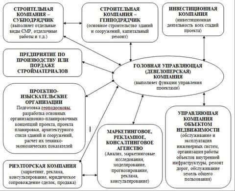 Структура девелоперской компании при реализации инвестиционно-строительных проектов