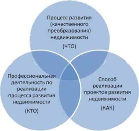 Графическое представление пересечения трех аспектов понятия девелопмента