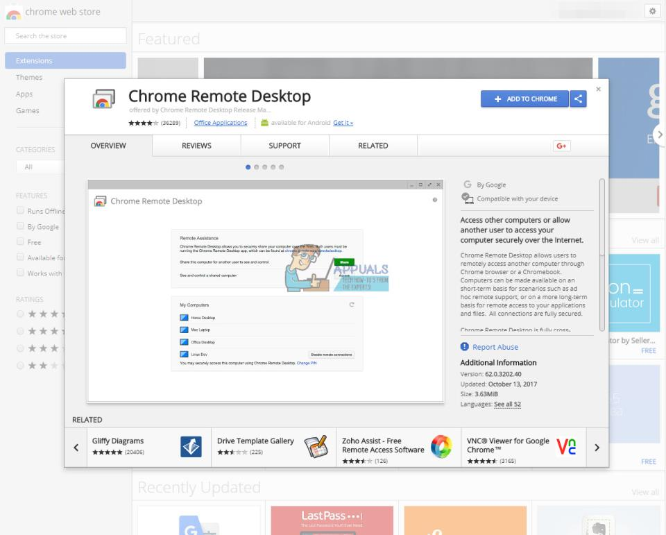 расширение Chrome Remote Desktpo