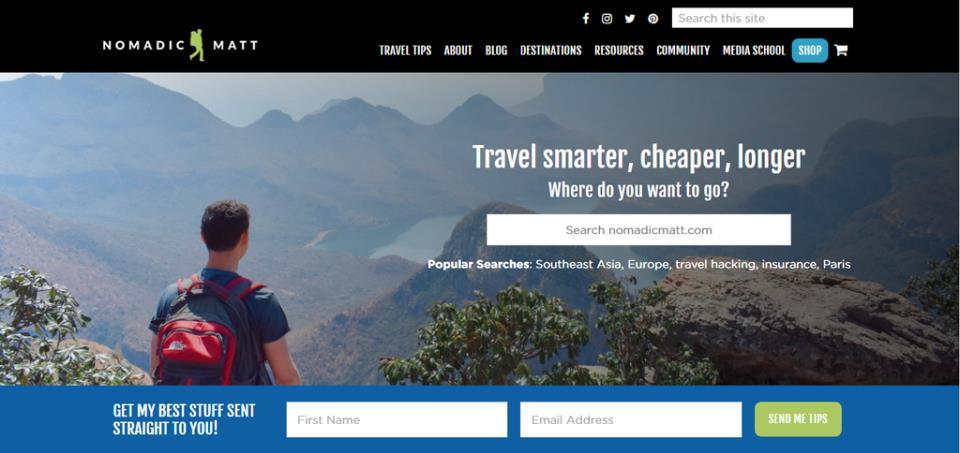 Снимок Главной Страницы Блога Nomadic Matt