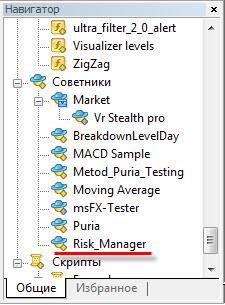 Активируем Risk Manager